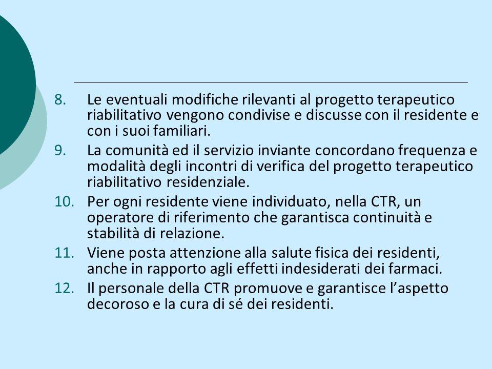 Le eventuali modifiche rilevanti al progetto terapeutico riabilitativo vengono condivise e discusse con il residente e con i suoi familiari.