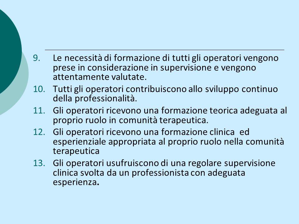 Le necessità di formazione di tutti gli operatori vengono prese in considerazione in supervisione e vengono attentamente valutate.