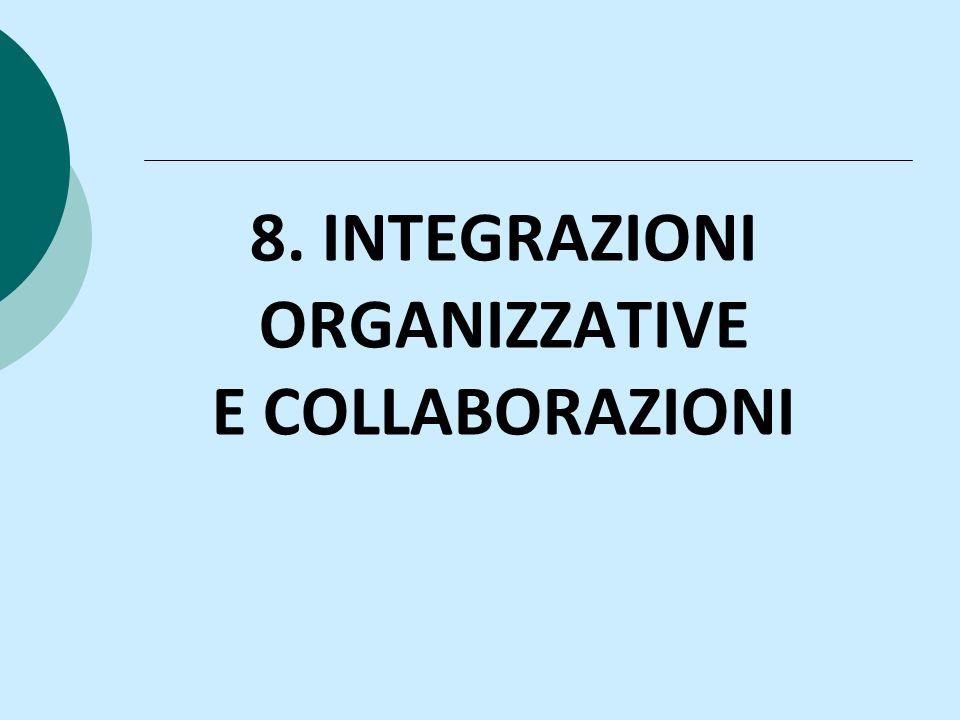 8. INTEGRAZIONI ORGANIZZATIVE E COLLABORAZIONI
