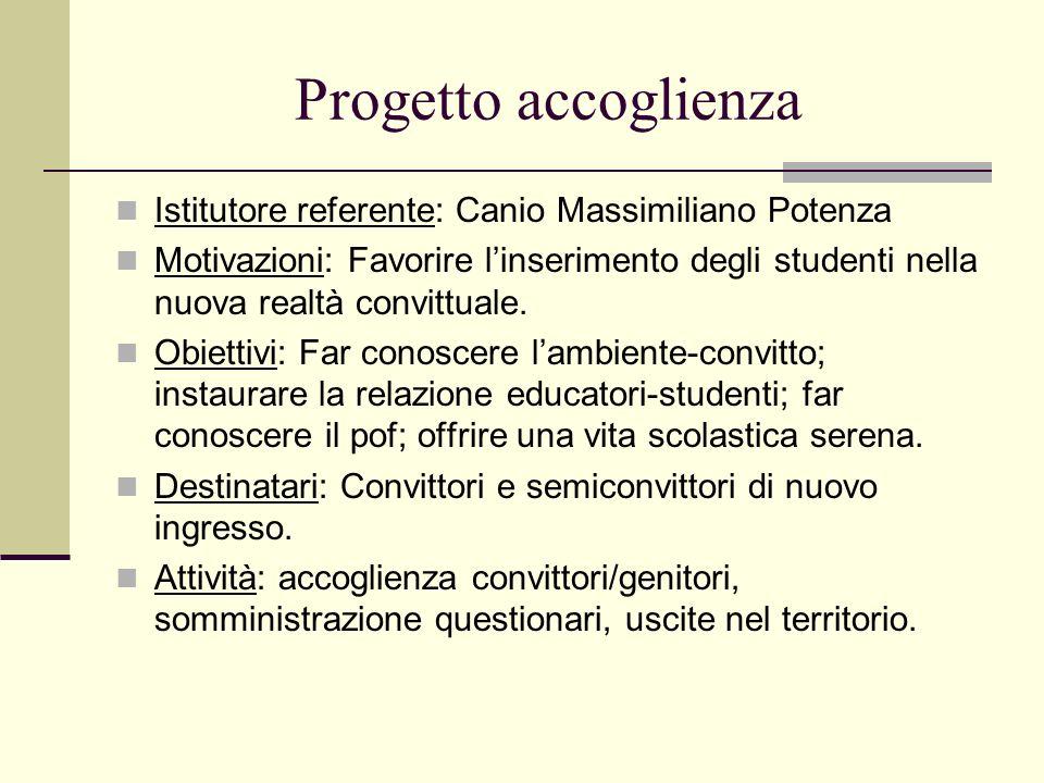 Progetto accoglienza Istitutore referente: Canio Massimiliano Potenza