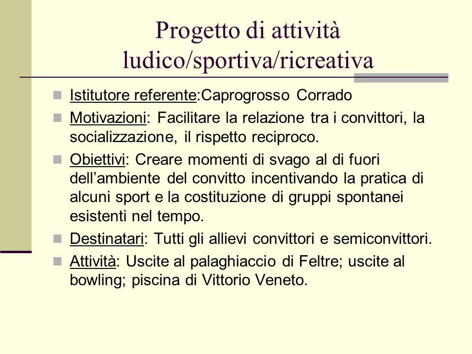 Progetto di attività ludico/sportiva/ricreativa
