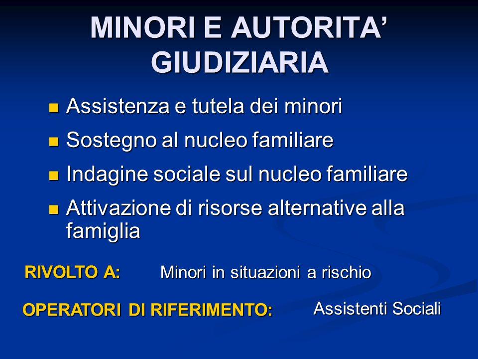 MINORI E AUTORITA' GIUDIZIARIA