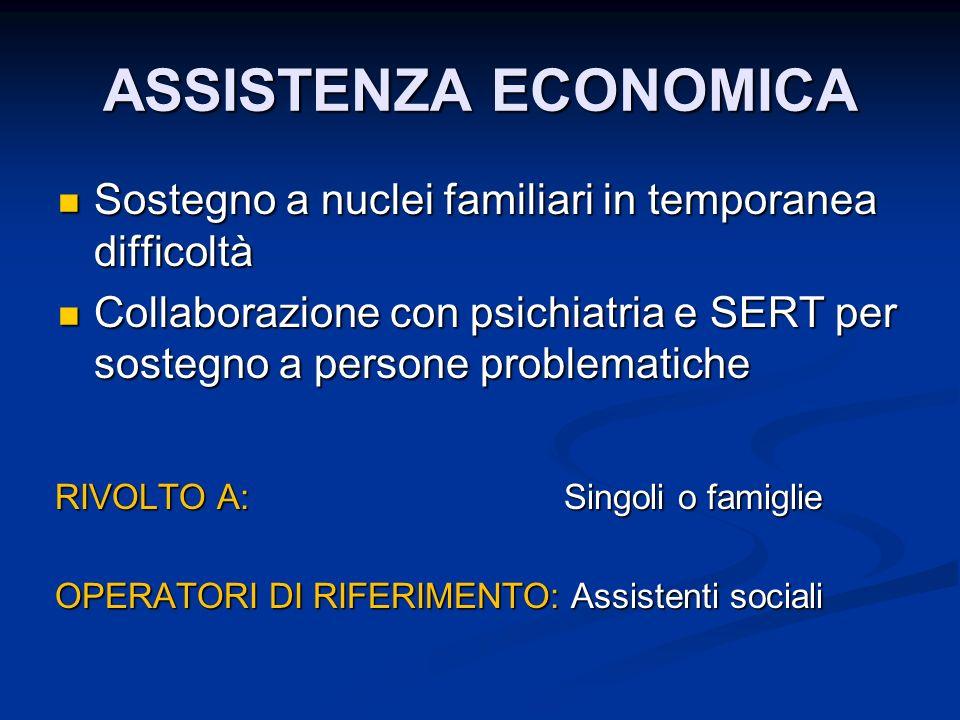 ASSISTENZA ECONOMICA Sostegno a nuclei familiari in temporanea difficoltà.