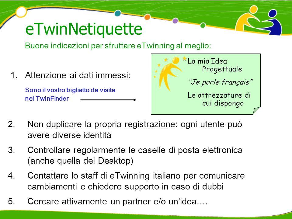 eTwinNetiquette Attenzione ai dati immessi:
