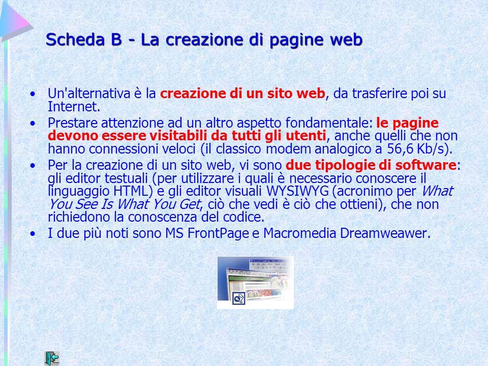 Scheda B - La creazione di pagine web