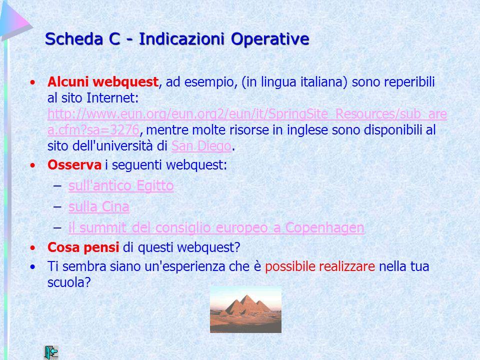 Scheda C - Indicazioni Operative