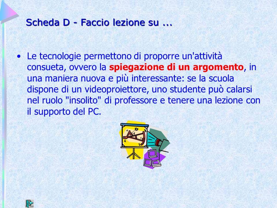 Scheda D - Faccio lezione su ...