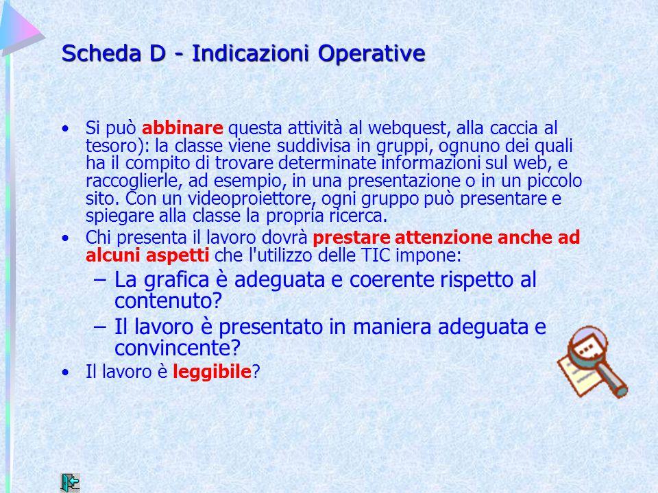 Scheda D - Indicazioni Operative