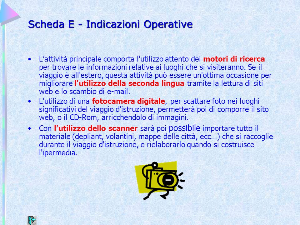 Scheda E - Indicazioni Operative
