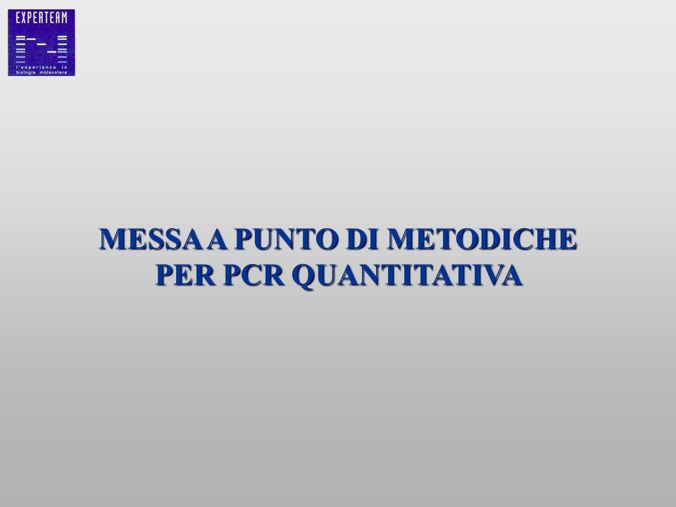 MESSA A PUNTO DI METODICHE PER PCR QUANTITATIVA