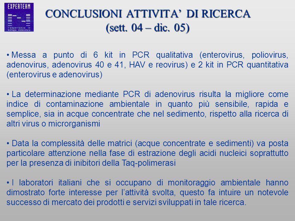 CONCLUSIONI ATTIVITA' DI RICERCA (sett. 04 – dic. 05)