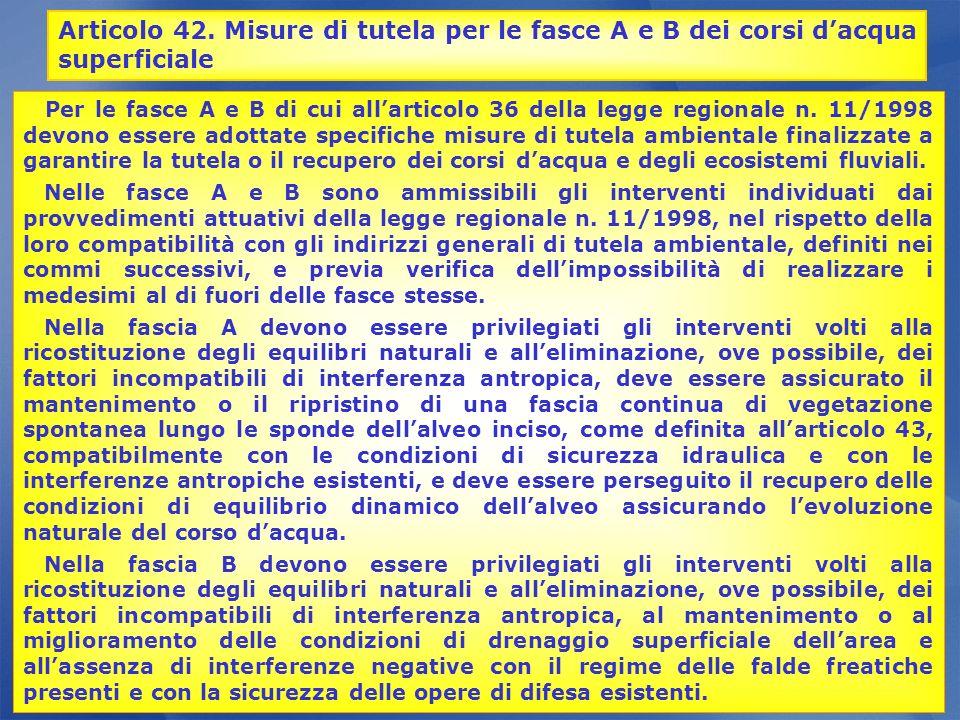 Articolo 42. Misure di tutela per le fasce A e B dei corsi d'acqua superficiale