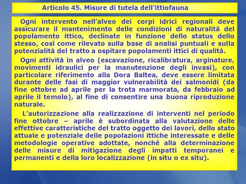 Articolo 45. Misure di tutela dell'ittiofauna