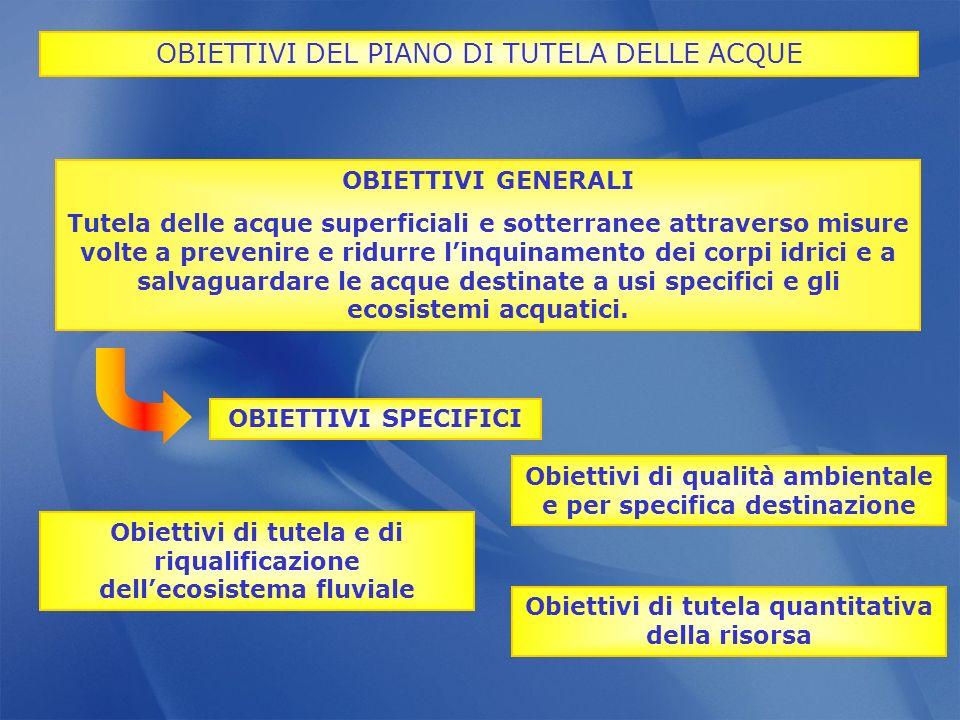 OBIETTIVI DEL PIANO DI TUTELA DELLE ACQUE
