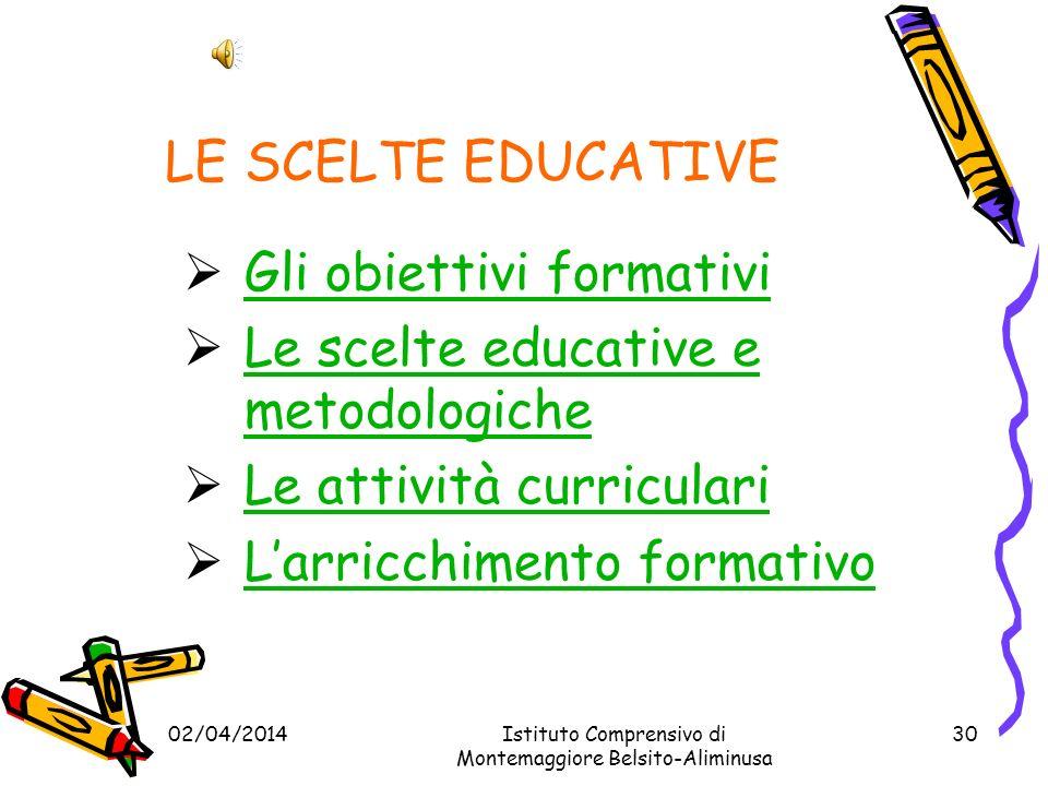 LE SCELTE EDUCATIVE Gli obiettivi formativi