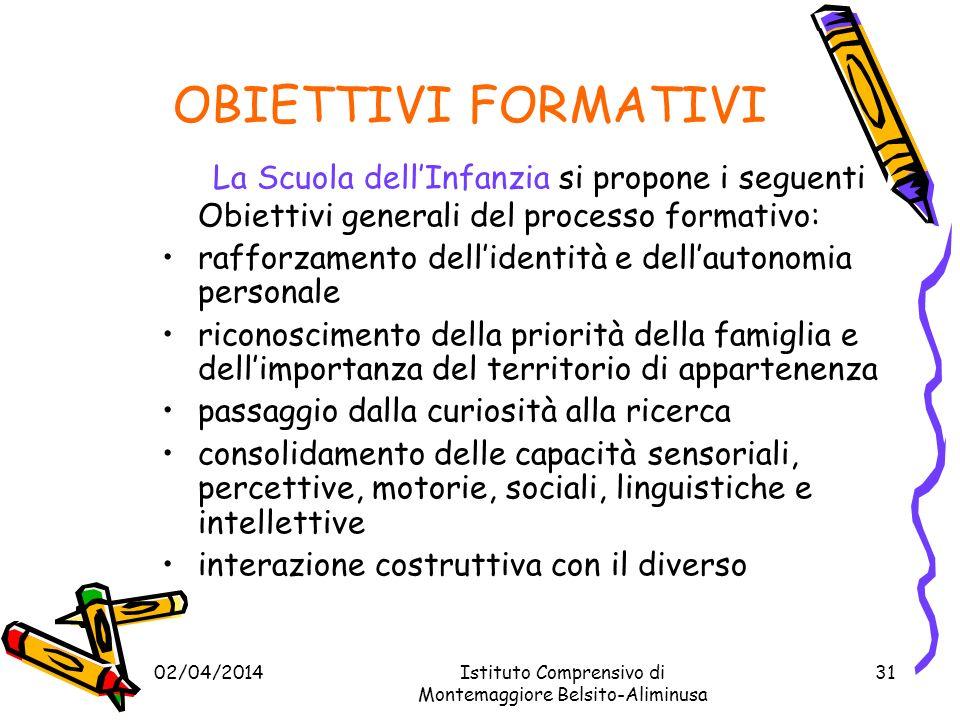 OBIETTIVI FORMATIVI La Scuola dell'Infanzia si propone i seguenti Obiettivi generali del processo formativo: