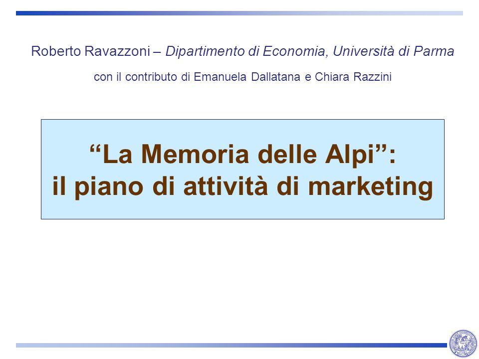 La Memoria delle Alpi : il piano di attività di marketing