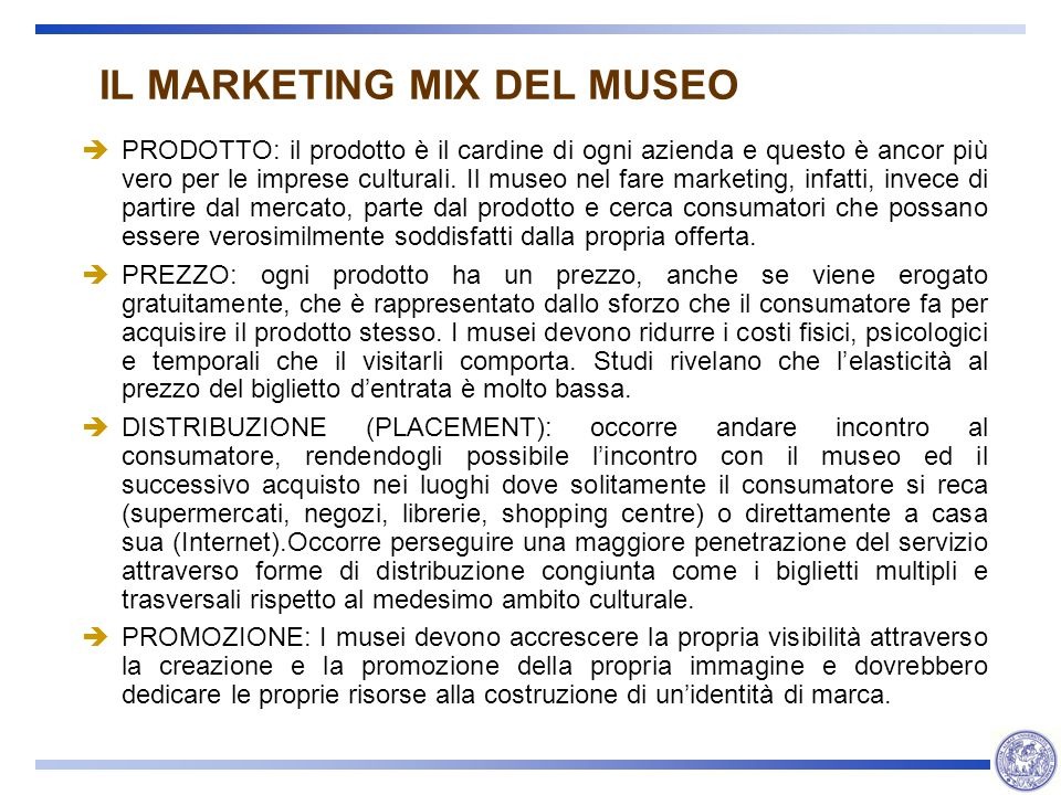 IL MARKETING MIX DEL MUSEO