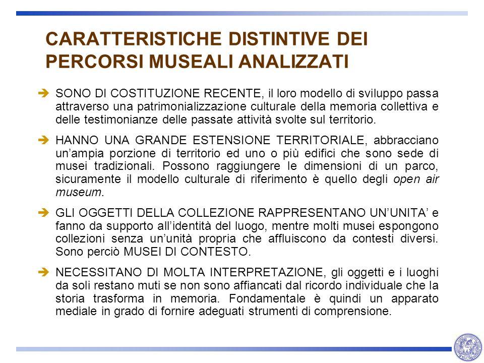 CARATTERISTICHE DISTINTIVE DEI PERCORSI MUSEALI ANALIZZATI