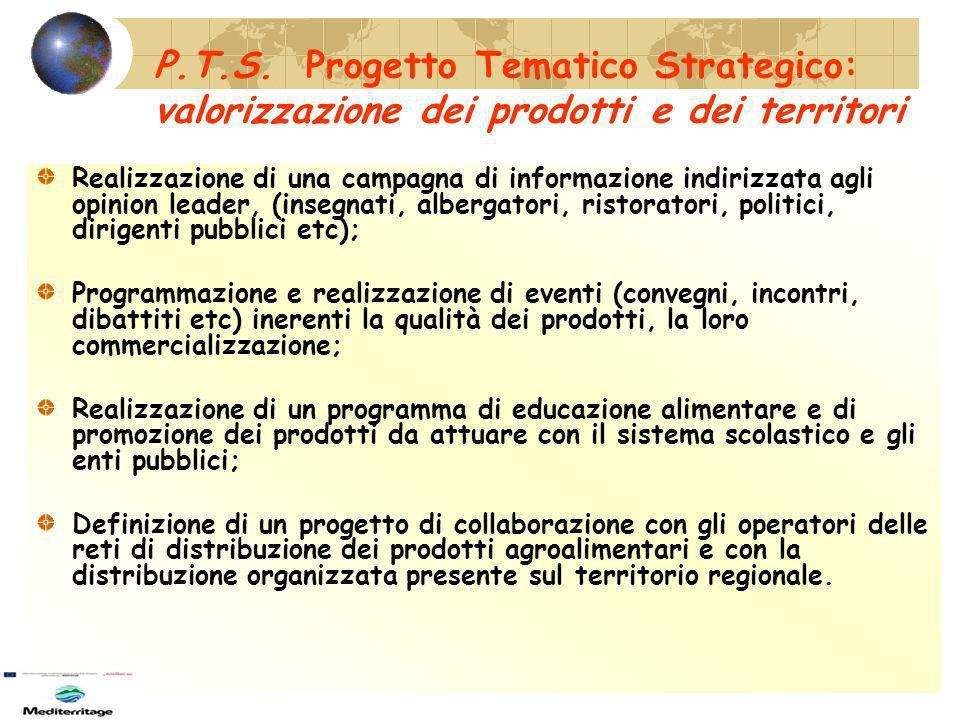 P.T.S. Progetto Tematico Strategico: valorizzazione dei prodotti e dei territori
