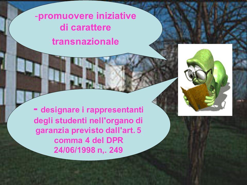 promuovere iniziative di carattere transnazionale