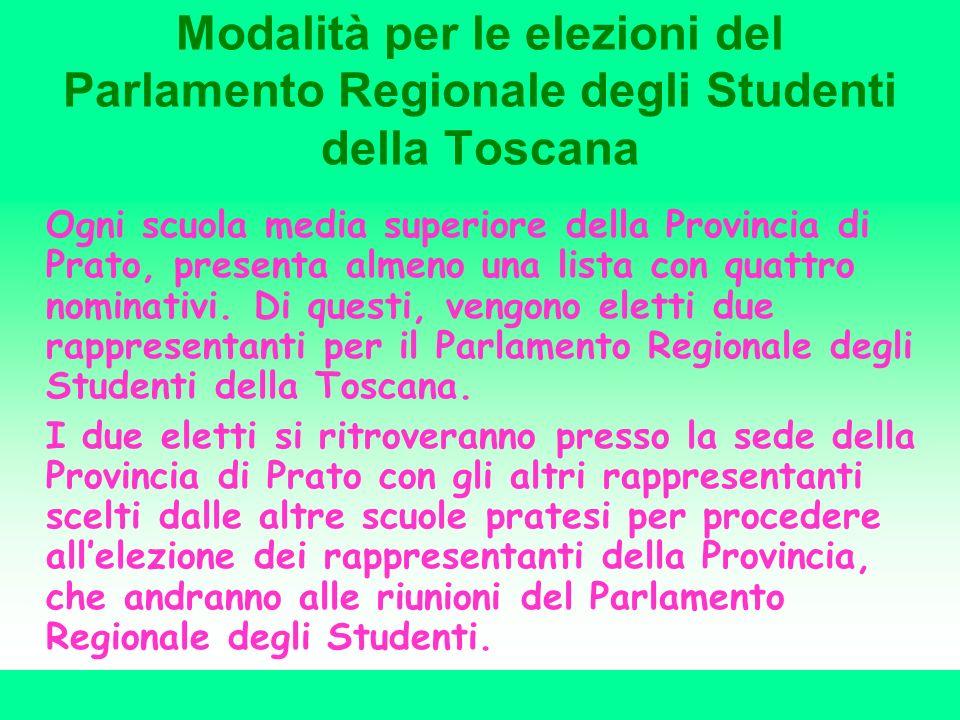 Modalità per le elezioni del Parlamento Regionale degli Studenti della Toscana