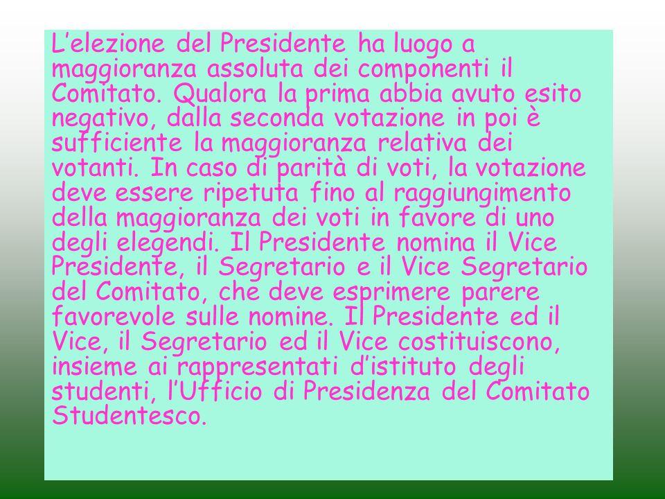 L'elezione del Presidente ha luogo a maggioranza assoluta dei componenti il Comitato.
