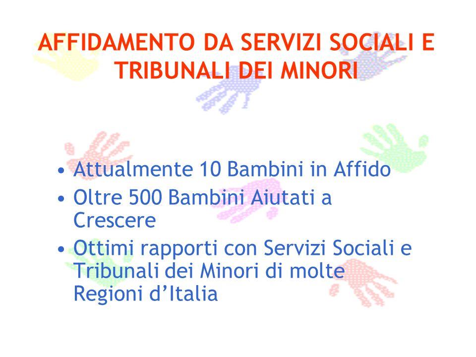 AFFIDAMENTO DA SERVIZI SOCIALI E TRIBUNALI DEI MINORI