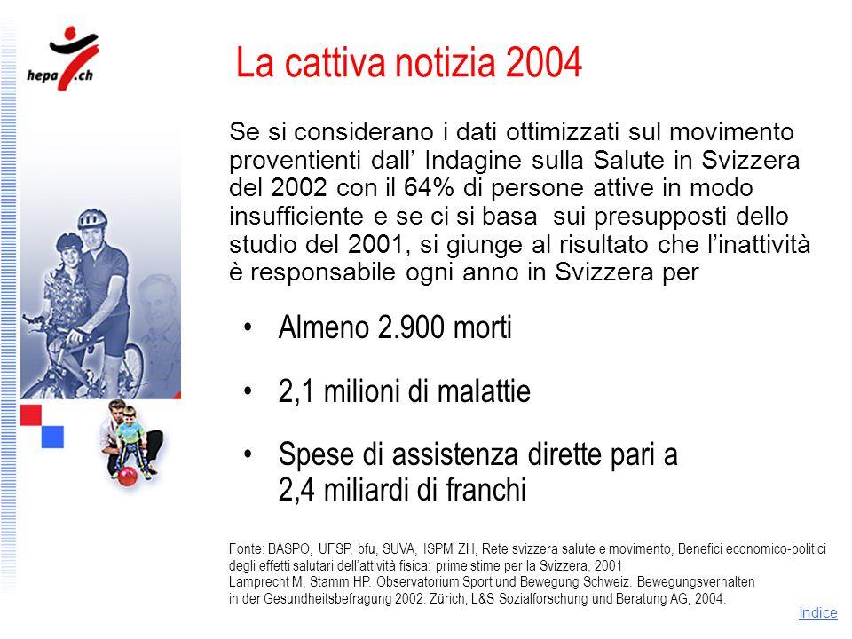 La cattiva notizia 2004 Almeno 2.900 morti 2,1 milioni di malattie