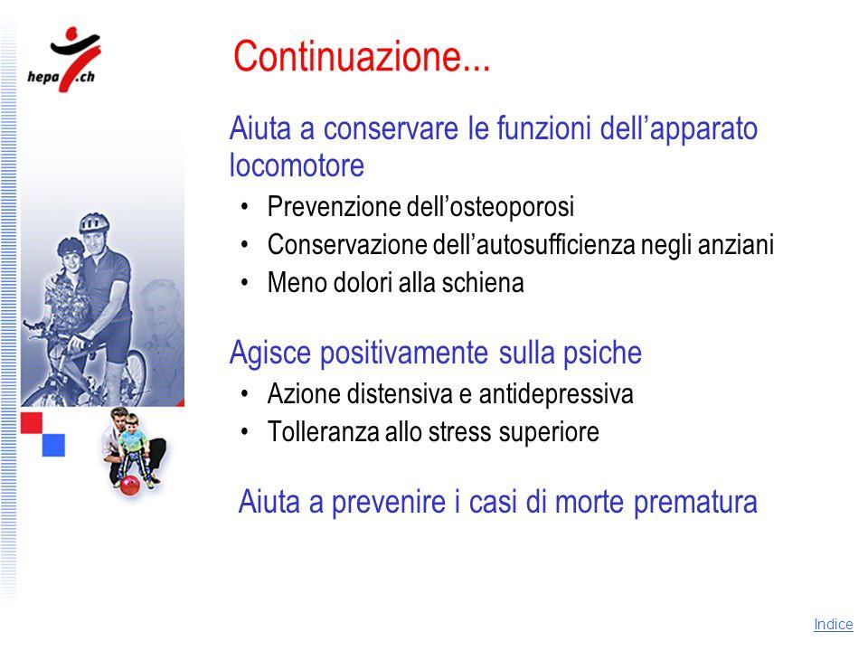 Continuazione... Aiuta a conservare le funzioni dell'apparato locomotore. Prevenzione dell'osteoporosi.