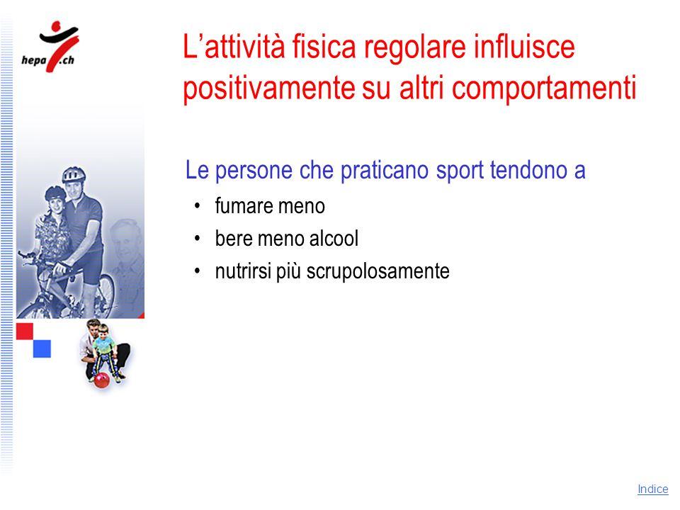 L'attività fisica regolare influisce positivamente su altri comportamenti