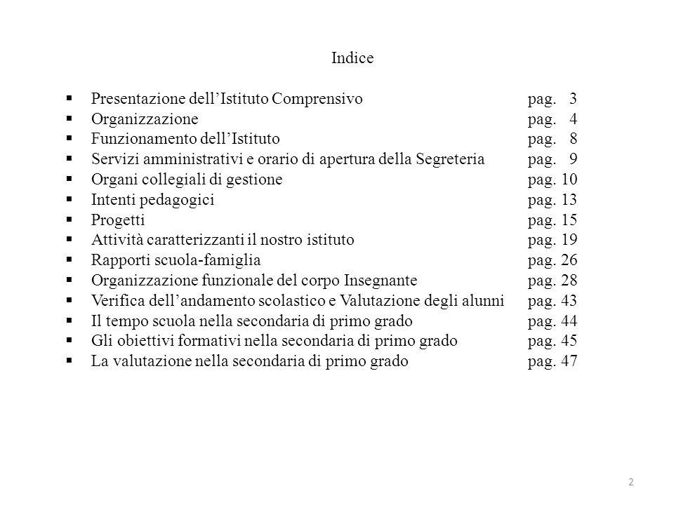 Indice Presentazione dell'Istituto Comprensivo pag. 3. Organizzazione pag. 4. Funzionamento dell'Istituto pag. 8.