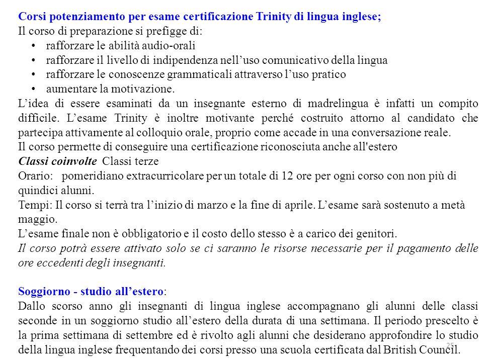 Corsi potenziamento per esame certificazione Trinity di lingua inglese;