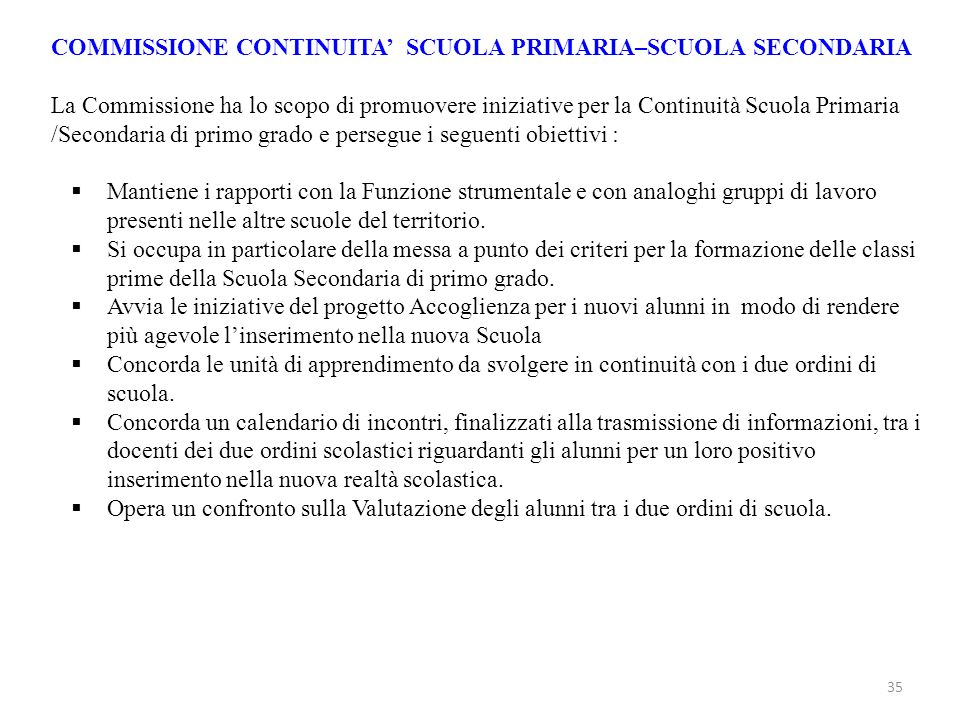 COMMISSIONE CONTINUITA' SCUOLA PRIMARIA–SCUOLA SECONDARIA