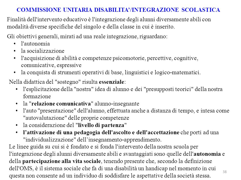 COMMISSIONE UNITARIA DISABILITA'/INTEGRAZIONE SCOLASTICA