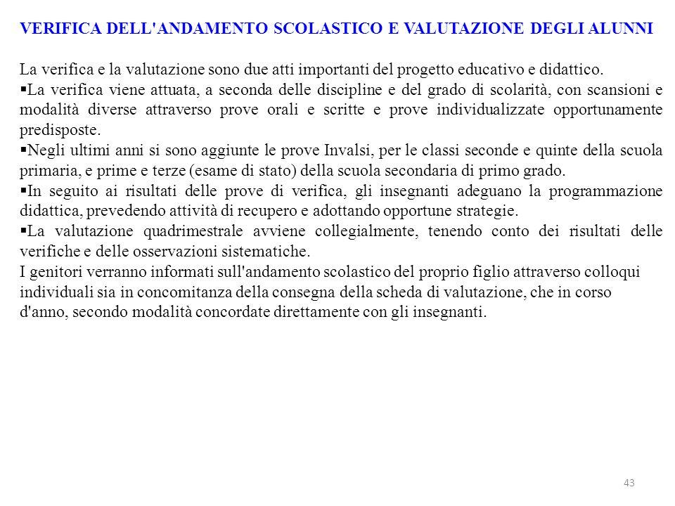 VERIFICA DELL ANDAMENTO SCOLASTICO E VALUTAZIONE DEGLI ALUNNI