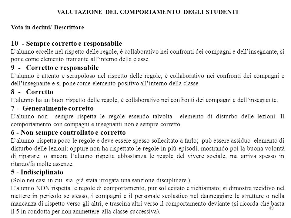 VALUTAZIONE DEL COMPORTAMENTO DEGLI STUDENTI