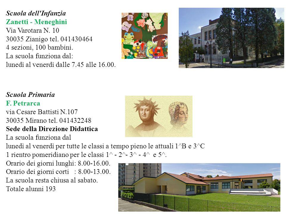 Scuola dell Infanzia Zanetti - Meneghini. Via Varotara N. 10. 30035 Zianigo tel. 041430464. 4 sezioni, 100 bambini.