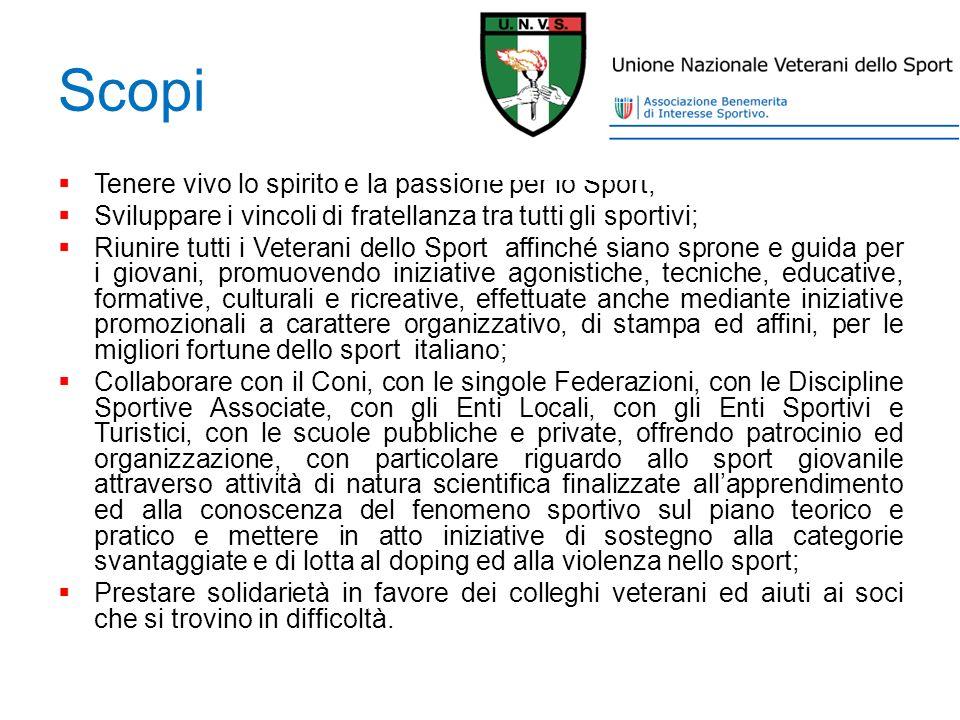 Scopi Tenere vivo lo spirito e la passione per lo Sport;