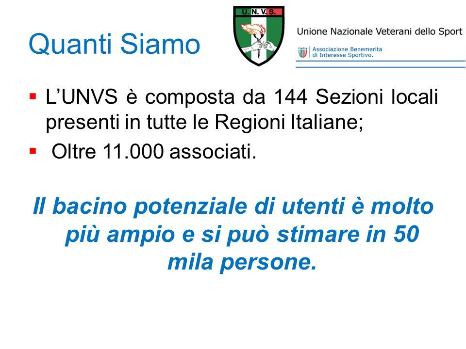 Quanti Siamo L'UNVS è composta da 144 Sezioni locali presenti in tutte le Regioni Italiane; Oltre 11.000 associati.
