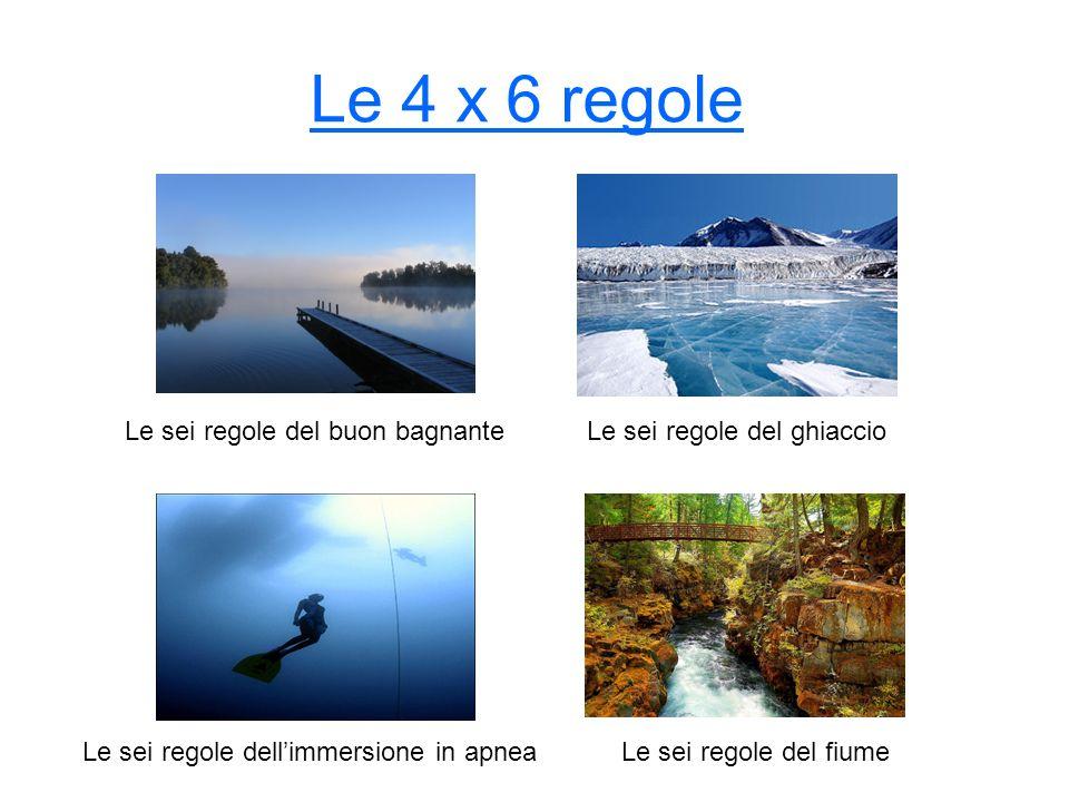 Le 4 x 6 regole Le sei regole del buon bagnante