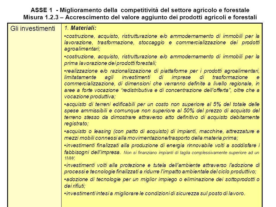 ASSE 1 - Miglioramento della competitività del settore agricolo e forestale Misura 1.2.3 – Accrescimento del valore aggiunto dei prodotti agricoli e forestali