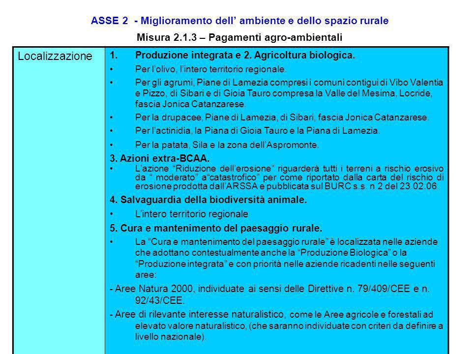 ASSE 2 - Miglioramento dell' ambiente e dello spazio rurale Misura 2.1.3 – Pagamenti agro-ambientali