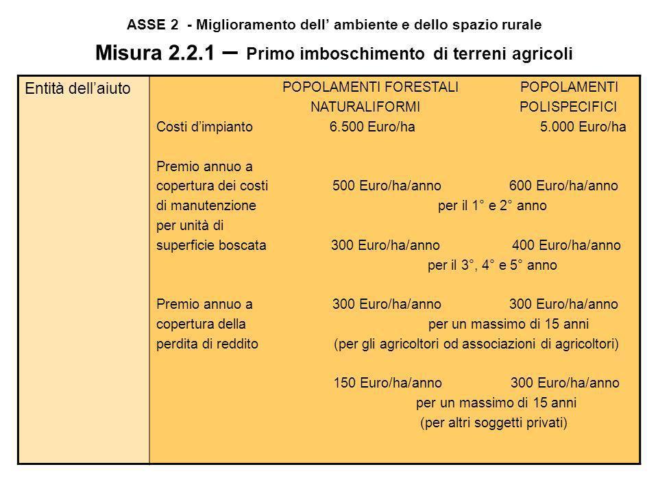 ASSE 2 - Miglioramento dell' ambiente e dello spazio rurale Misura 2.2.1 – Primo imboschimento di terreni agricoli