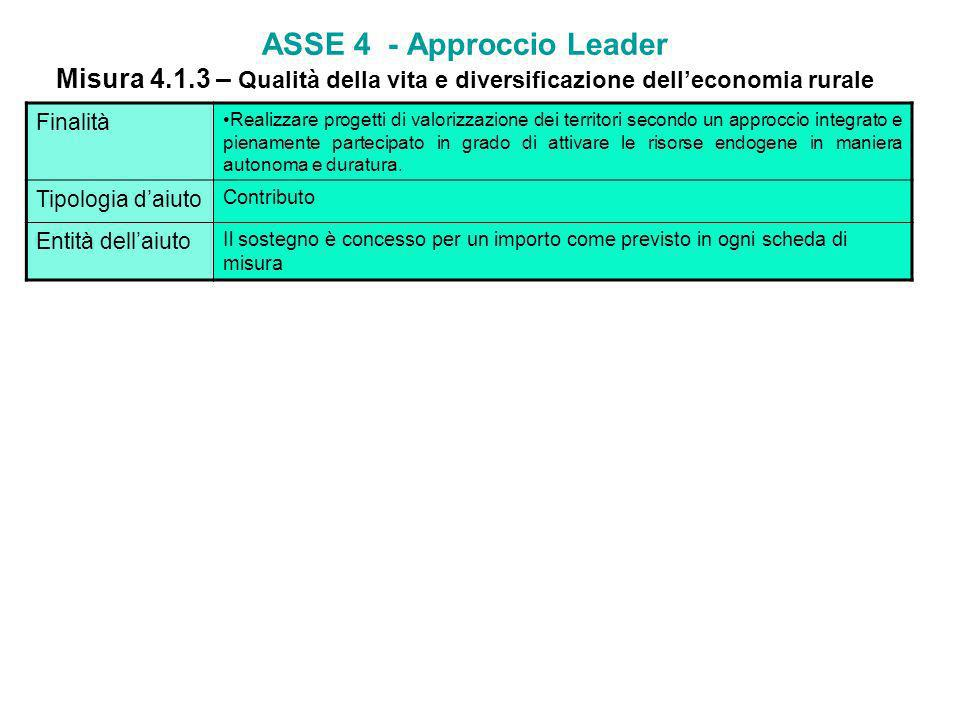 ASSE 4 - Approccio Leader Misura 4. 1