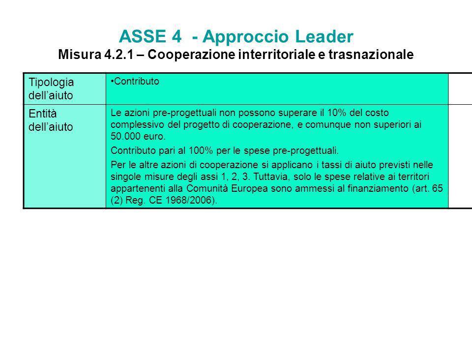 ASSE 4 - Approccio Leader Misura 4. 2
