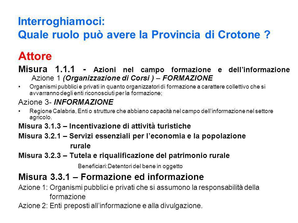 Interroghiamoci: Quale ruolo può avere la Provincia di Crotone