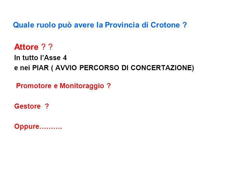 Quale ruolo può avere la Provincia di Crotone