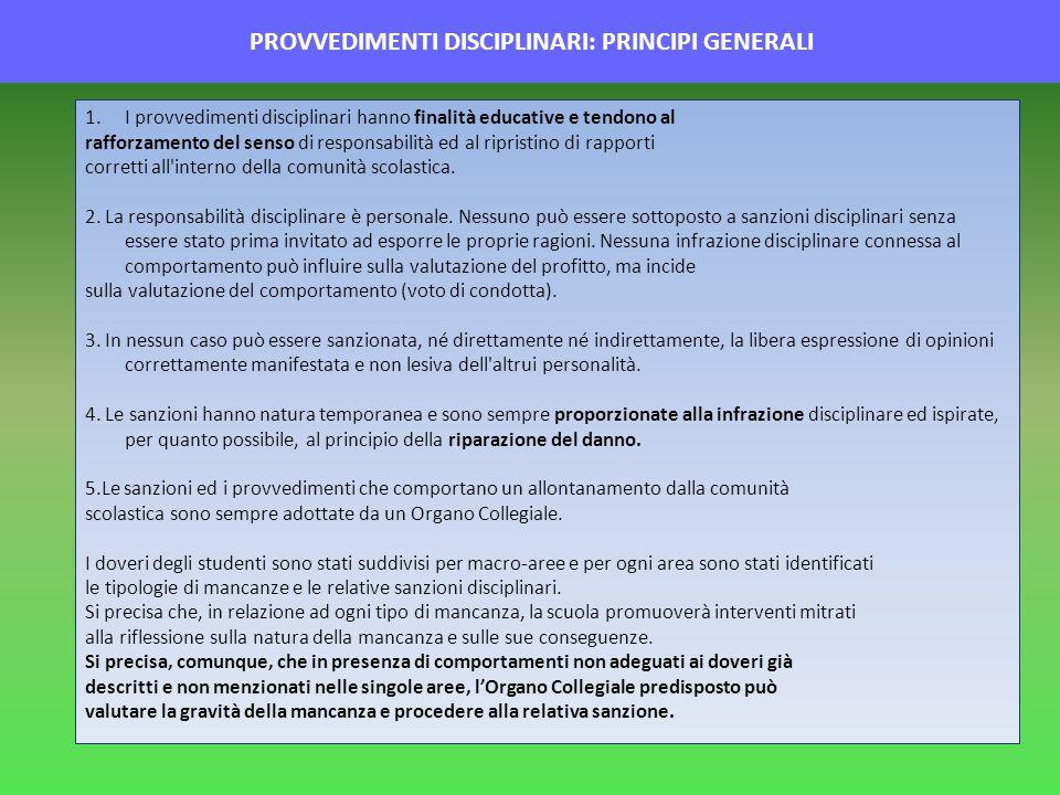 PROVVEDIMENTI DISCIPLINARI: PRINCIPI GENERALI
