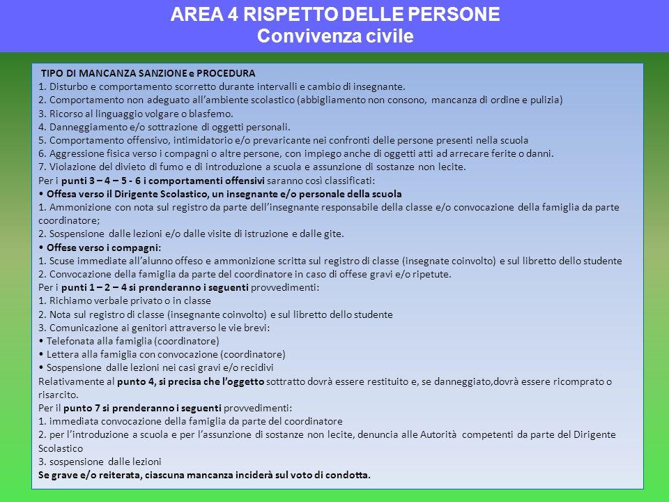 AREA 4 RISPETTO DELLE PERSONE